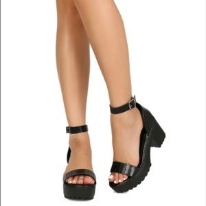 Shoes - New Ankle Strap Chunky Platform Lug Heel 3 left
